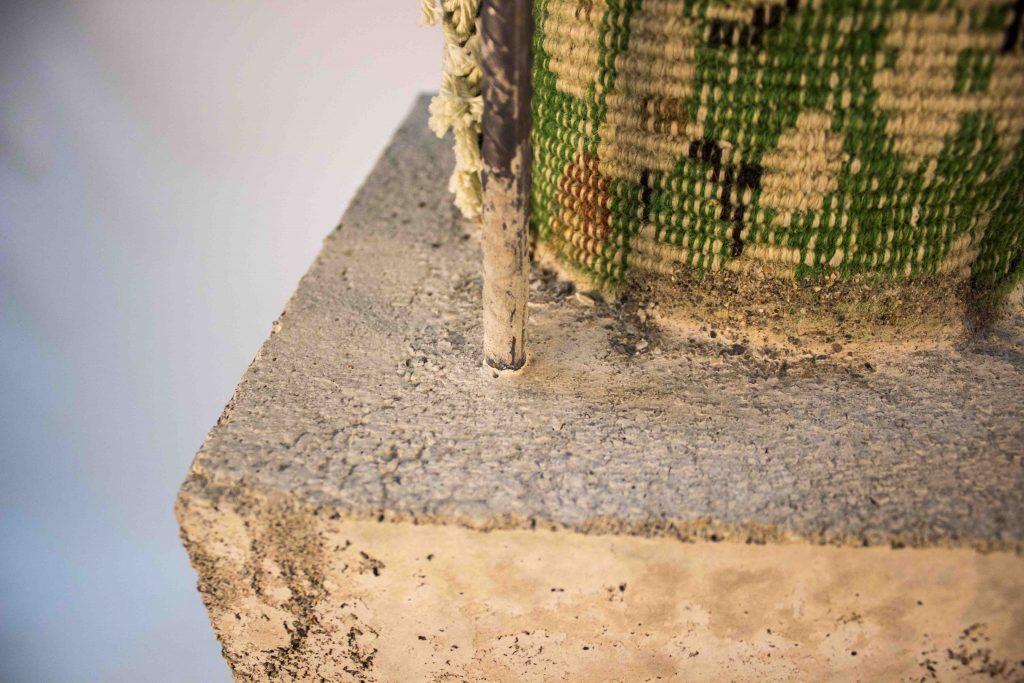 Indigenization VII,  2017, Fabric, iron, concrete   179 × 29 × 29 cm