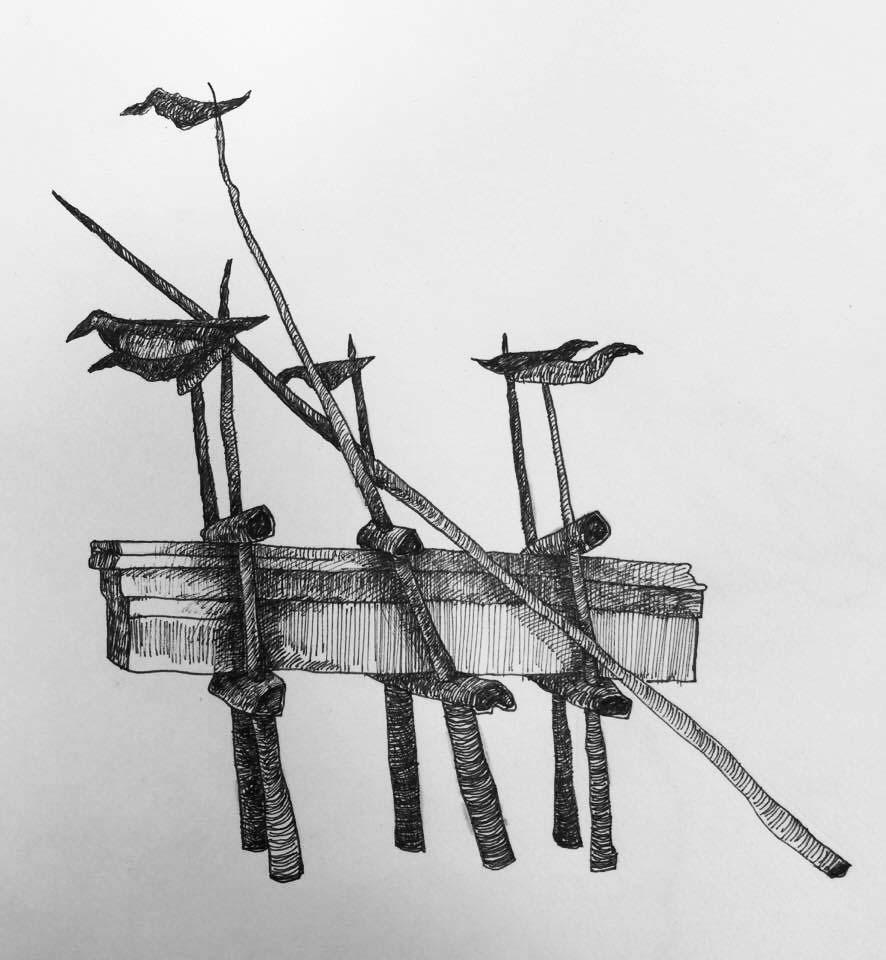 For the Sake of Flying Sketch, 2017, Ink on Paper 18x15 cm