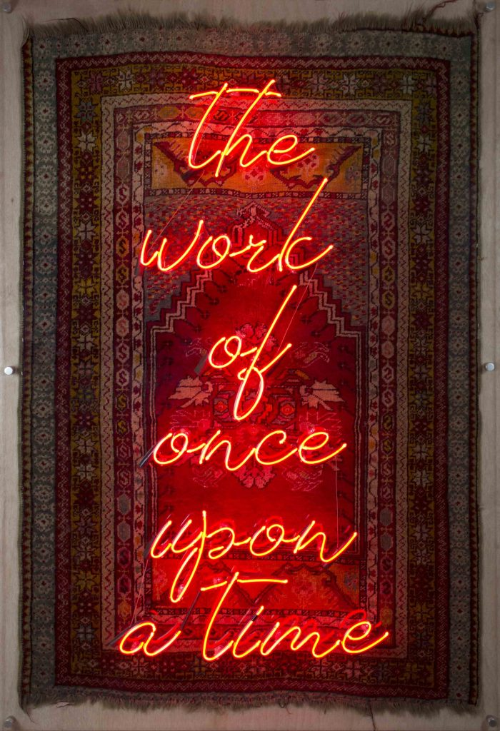 The Work of Once Upon a Time II, 2018, Rug, Neon, 170x106 cm