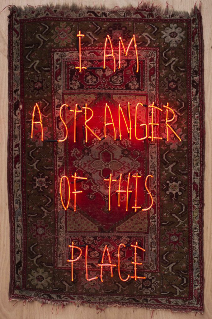 I Am A Stranger Of This Place III, 2018, Wood, Wood, Fabric, Neon, 188x127x16.5cm